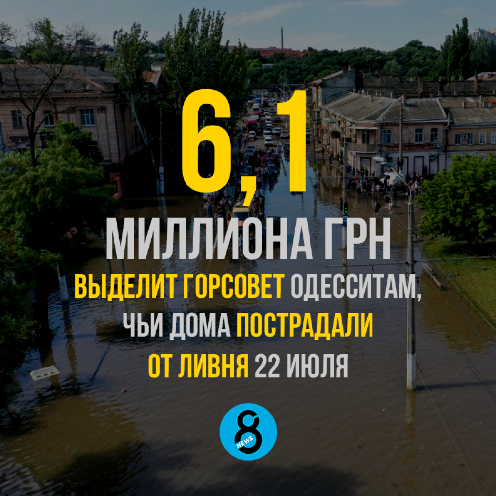 6,1 миллиона грн выделит горсовет одесситам, чьи дома пострадали от ливня 22 июля