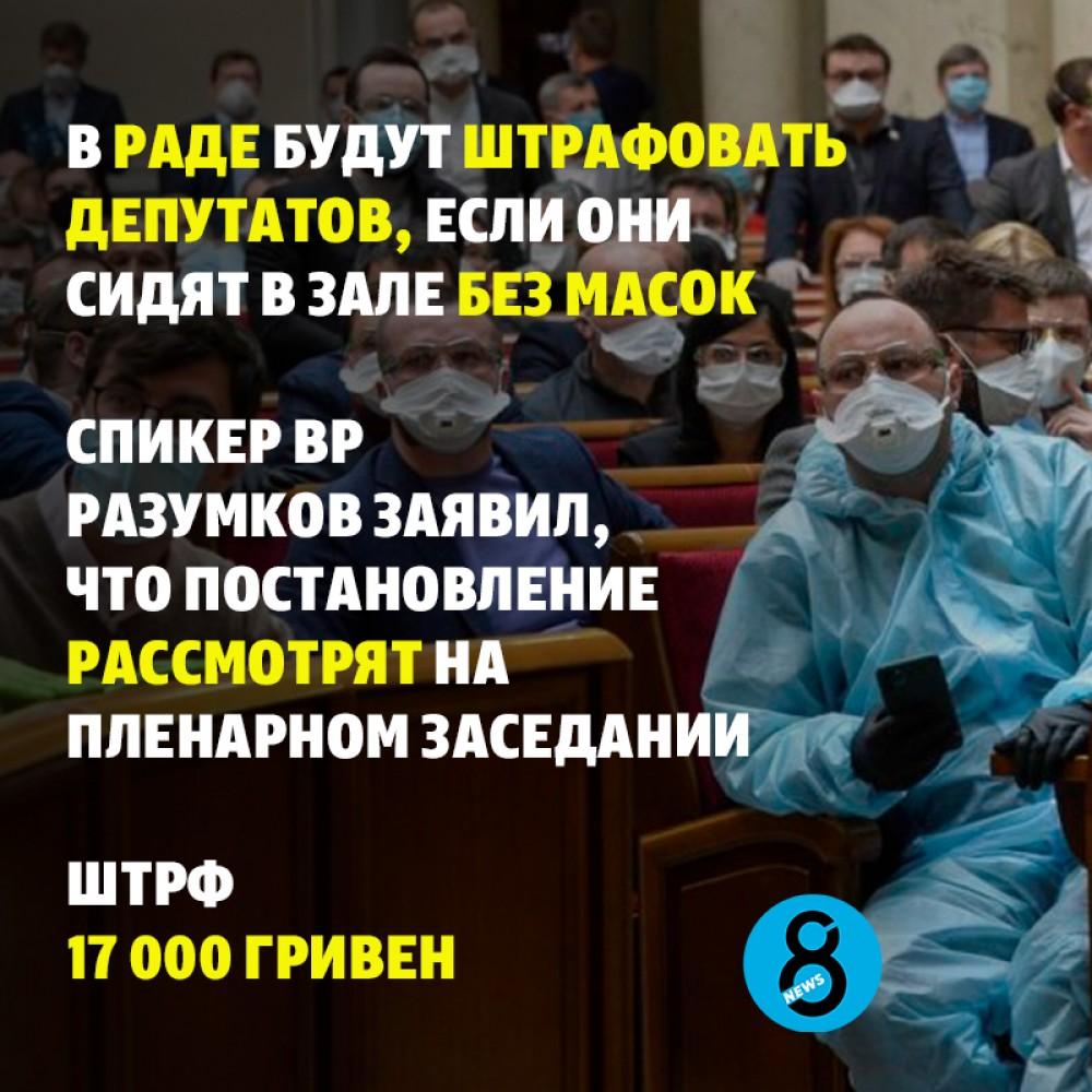 В Раде предлагают штрафовать депутатов за отсутствие масок