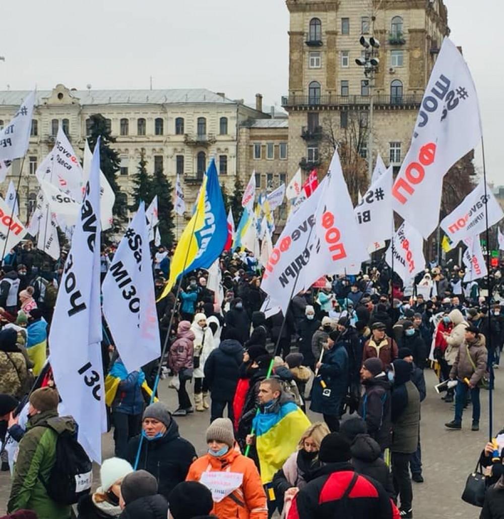 На Майдане произошли стычки митингующих ФОПов с полицией
