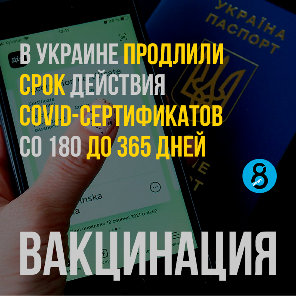 В Украине продлили срок действия COVID-сертификатов со 180 до 365 дней