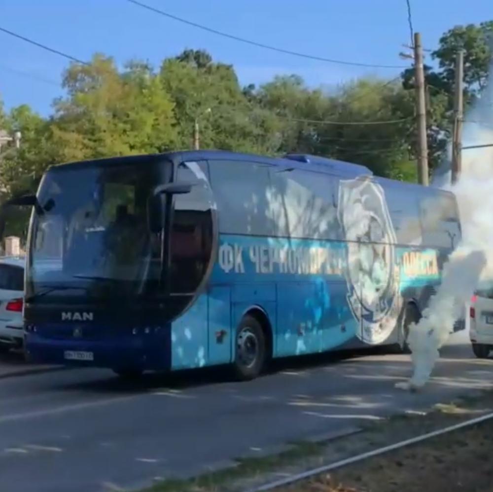 Одесские ультрас атаковали автобус «Черноморца»