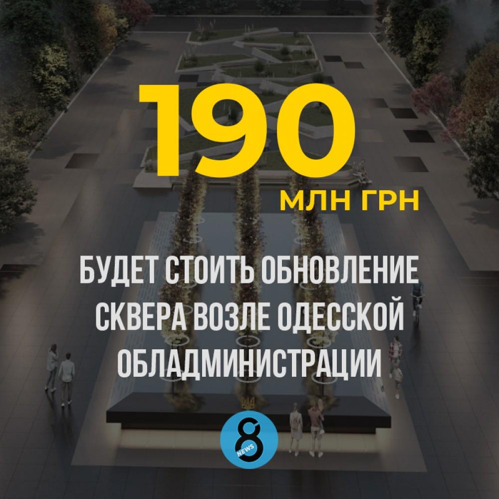 Новый сквер возле Одесской обладминистрации будет стоит 190 млн грн