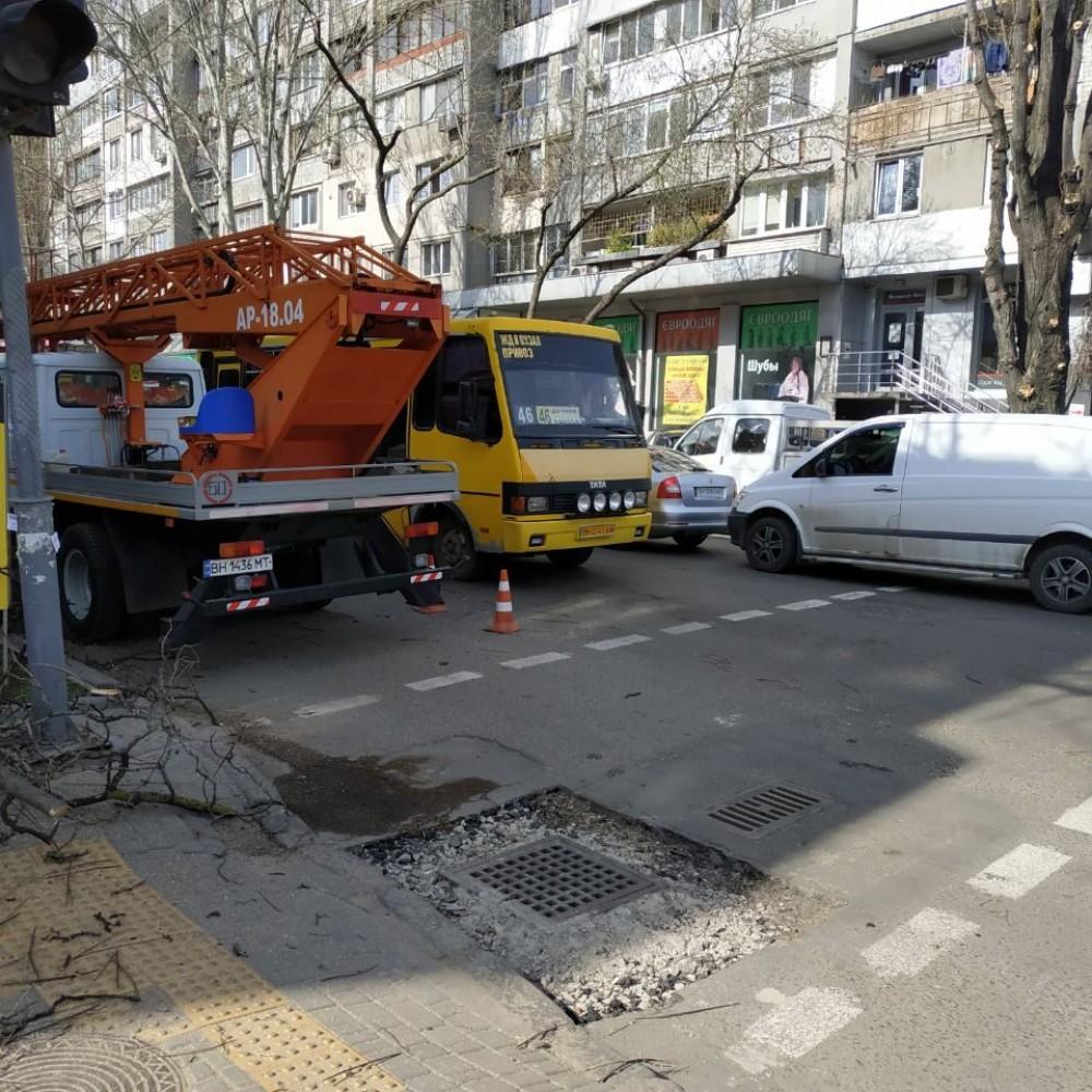 Подрезают деревья и чинят ливневку // На Екатерининской транспортный коллапс
