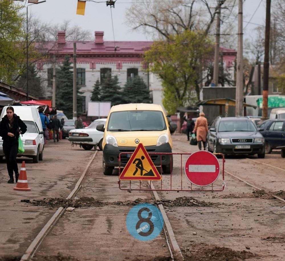 Рабочие начали перекрывать Преображенскую возле Привоза