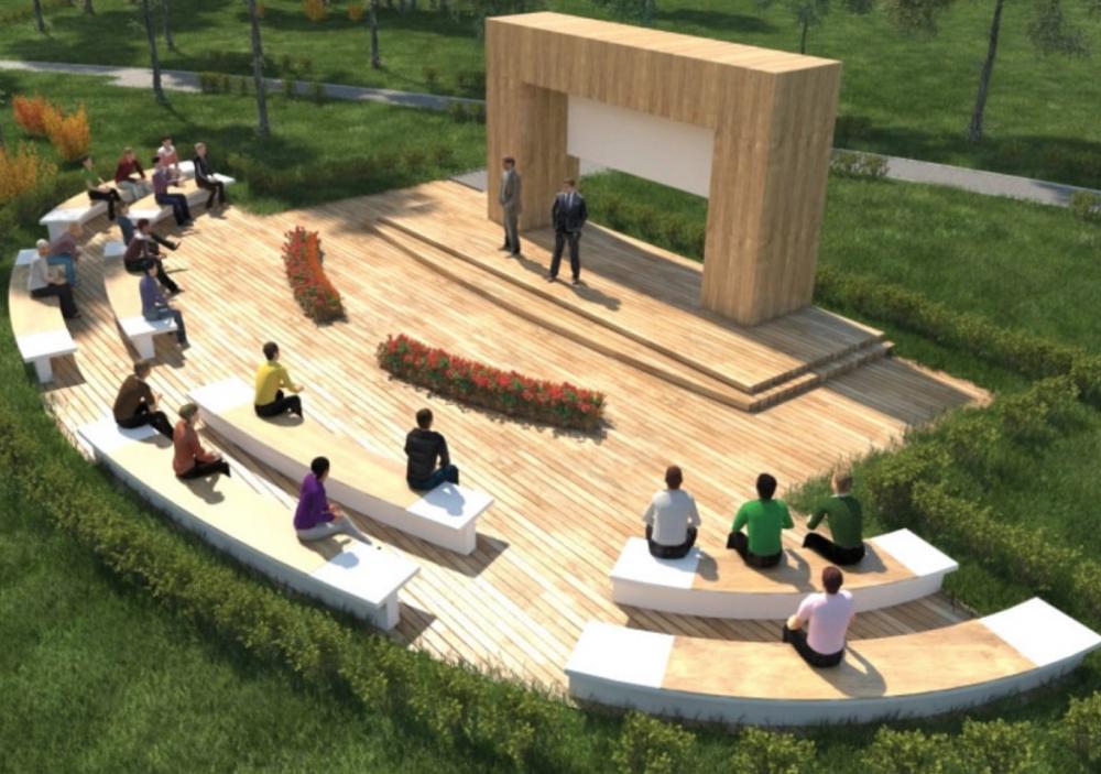 На месте бетонной плиты в парке Шевченко появится мини-театр с арт-галереей