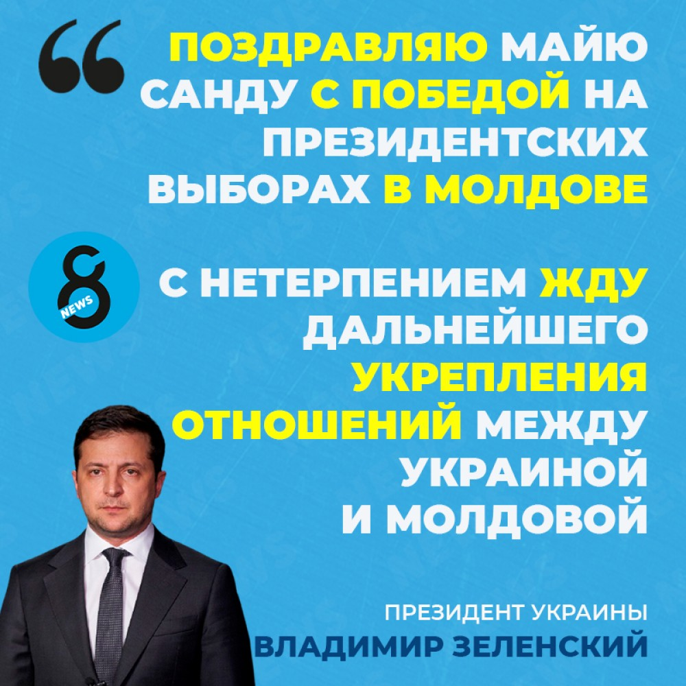 Президент Зеленский поздравил Майю Санду с победой на выборах президента Молдовы