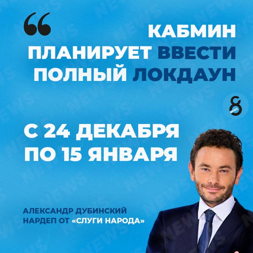 Нардеп Дубинский назвал даты, когда Кабмин планирует ввести полный локдаун в Украине
