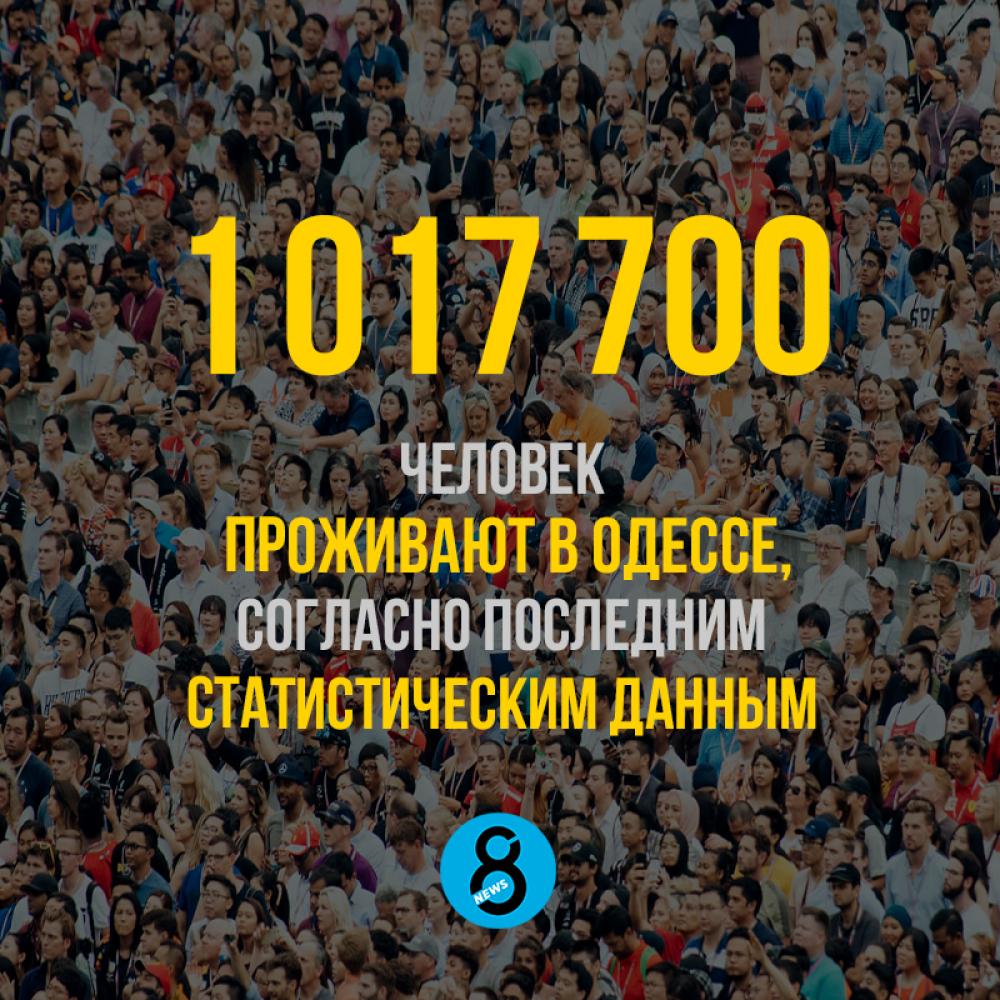 1 017 700 человек  проживают в Одессе,  согласно последним  статистическим данным