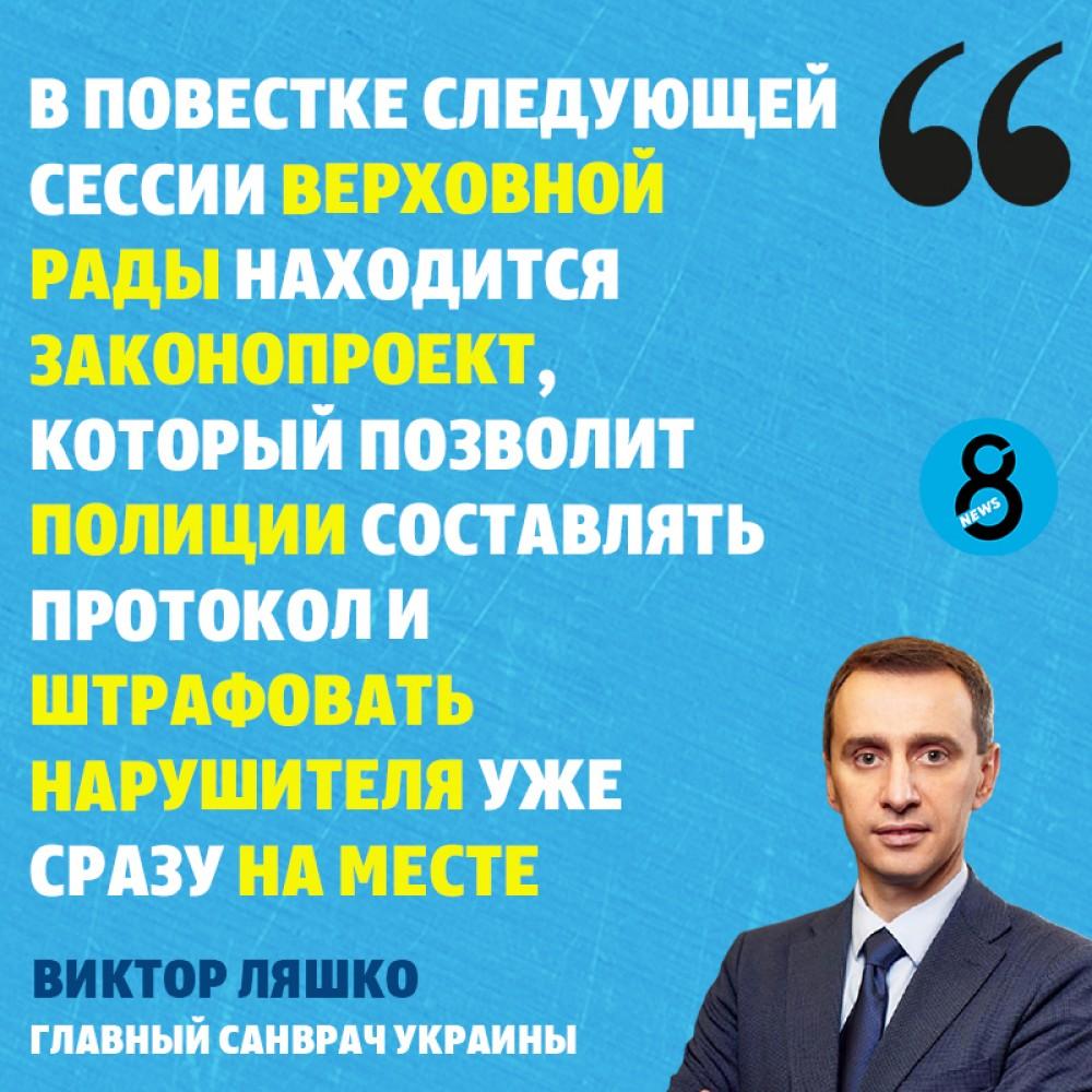 Украинцев без масок будут штрафовать прямо на месте