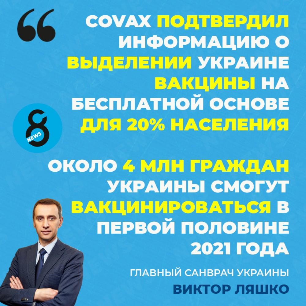 Украина получит вакцину от короны на бесплатной основе